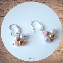 Maolia - Boucles d'oreilles perles de culture teintes douces