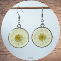 Maolia - Boucles d'oreilles disque de résine fleurie
