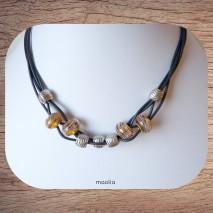 Maolia - Collier perles et quatre cordons noirs