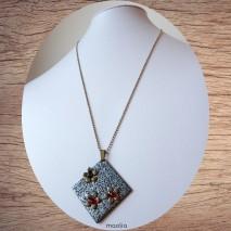 Maolia - Collier bronze pendentif cabochon verre coquelicot