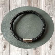 Maolia - Bracelet homme cordon cuir tressé noir