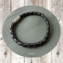 Maolia - Bracelet homme cordon cuir tressé noir de taille moyenne