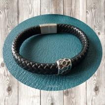 Maolia - Bracelet homme gros cordon cuir tressé noir