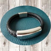 Maolia - Bracelet homme tresse en cuir noir et élément central