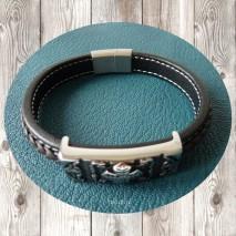 Maolia - Bracelet homme tresse en cuir noir et marron médieval