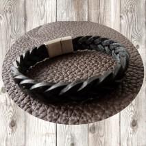Maolia - Bracelet homme tresse plate en cuir noir