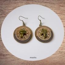 Maolia - Boucles d'oreilles croix aventurine et cuir