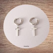 Maolia - Boucles d'oreilles petite croix en acier