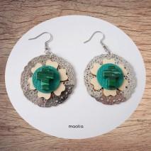 Maolia - Boucles d'oreilles croix malachite bois et cuir