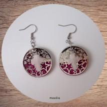 Boucles d'oreilles croix quartz rose et cuir