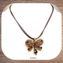 Collier papillon cristal brun or