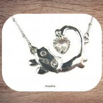 Maolia - Collier chat au bijou chaîne fine