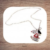 Maolia - Collier chien corps rouge strass