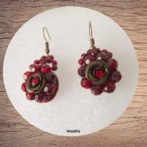 Maolia - Boucles d'oreilles fleur et perles rouges