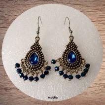 Maolia - Boucles d'oreilles goutte métal et perles bleues
