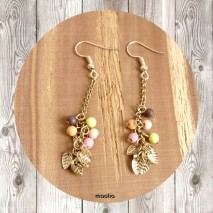 Maolia - Boucles d'oreilles perles colorées et feuilles dorées