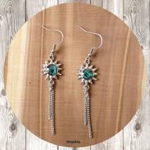 Maolia - Boucles d'oreilles soleil bleu et petites chaines