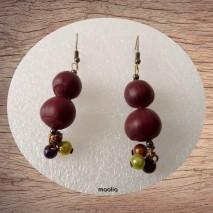 Maolia - Boucles d'oreilles noisettes du Chili et perles magiques