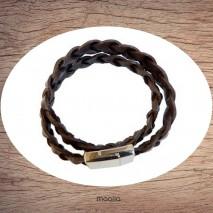 Maolia - Bracelet cuir grosse tresse marron deux tours