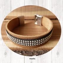 Bracelet cuir naturel et strass