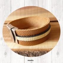Maolia - Bracelet cuir naturel et jaune structuré
