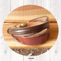 Maolia - Bracelet cuir et lacets marrons