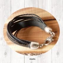 Maolia - Bracelet cuir et lacets noirs