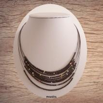 Collier petites perles noires et colorées