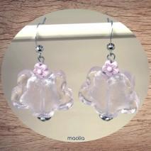 Boucles d'oreilles fleur de verre rose