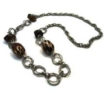 Sautoir grosse chaine et perles brunes