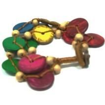Bracelet en perles de coco et coton ciré marron entrelacé
