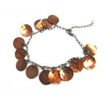 Bracelet en nacre marron lumineux