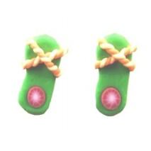 Boucles d'oreilles forme tong vert et orange