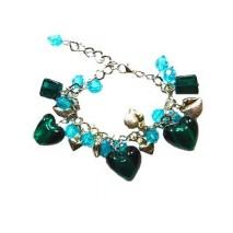 Bracelet coeurs de verre et argentés