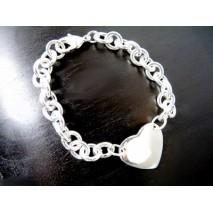Bracelet coeur grosse maille plaqué argent