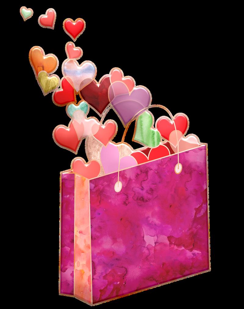 Sachet rose et petits cadeaux